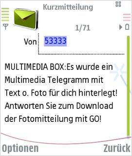 Es wurde ein Multimedia Telegramm hinterlegt.