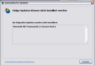 Die folgenden Updates wurden nicht installiert