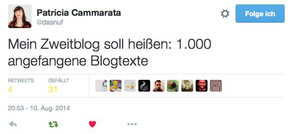 @dasnuf: Mein Zweitblog soll heißen: 1.000 angefangene Blogtexte