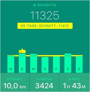 Durchschnitt: 11325 Schritte